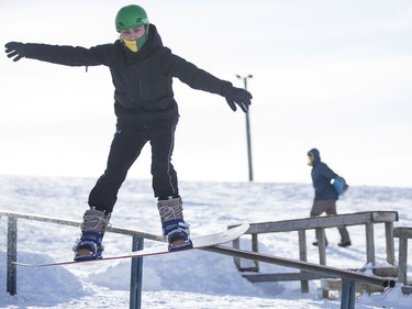 Jeremy Baranitsky rides down the hill during an event in support of the construction of a recreation park for winter and summer use in Diefenbaker Park in Saskatoon on Saturday, February 3, 2018.