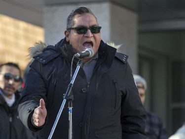 FSIN Second Vice-Chief David Pratt speaks during a rally for the Boushie family at the Court of Queen's Bench in Saskatoon, SK on Saturday, February 10, 2018.