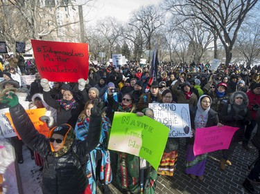 Supporters during a rally for the Boushie family at the Court of Queen's Bench in Saskatoon, SK on Saturday, February 10, 2018.