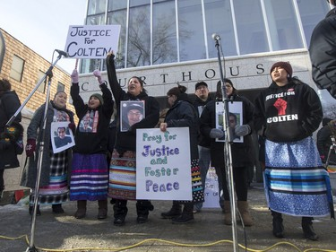 A rally for the Boushie family at the Court of Queen's Bench in Saskatoon, SK on Saturday, February 10, 2018.