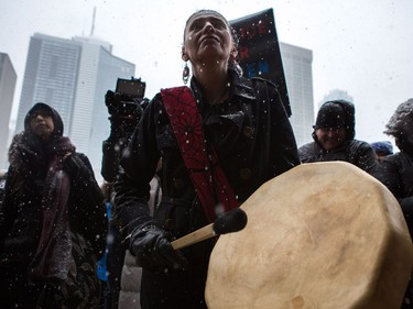 Protesters gather in Nathan Phillips Square in Toronto on Saturday, Feb. 10, 2018, to protest the verdict in the murder trial of Gerald Stanley, who was accused of killing Colten Boushie.