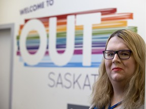 Trans activist Reann Legge, who is calling on the provincial government to provide more healthcare coverage for surgeries that address body dysphoria in Transgender individuals, stands for a photograph at the OUTSaskatoon office in Saskatoon, SK on Saturday, March 31, 2017.
