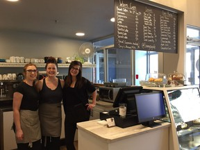 Living Sky Cafe owner Taylor Morrison (centre) with employees Taylor Hancock (left) and Jenna Dubé at the cafe's new space on Third Avenue in Saskatoon on May 9, 2018. (Erin Petrow/ Saskatoon StarPhoenix)