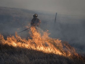 """A Lumsden volunteer firefighter fights a grass fire near Lumsden. Volunteer firefighters in the Town of Vonda have walked off the job after more than a decade of """"internal issues"""" with the town council."""