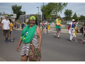 Deborah Kim of Beardy's and Okemasis Cree Nation took part in the Rock Your Roots Walk  during the National Indigenous Peoples Day event at Victoria Park  in Saskatoon on  June 21, 2018.