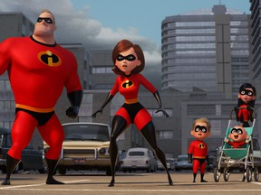 """L-R: Bob (voiced by Craig T. Nelson), Helen (voiced by Holly Hunter), Dash (voiced by Huck Milner), Violet (voiced by Sarah Vowell), and Jack-Jack (voiced by Eli Fucile) in """"Incredibles 2."""""""