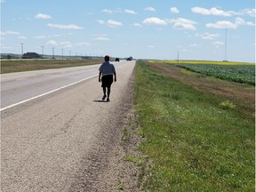 Chris Martell is walking to Regina from Saskatoon, to raise funds for new healing camps and awareness about the effects of the foster care system. The walk will take five days and will end on Friday.  Courtesy Chris Martell's Facebook page.
