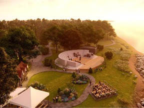 Artist's rendering of the new site configuration and planned amphitheatre for Shakespeare on the Saskatchewan.