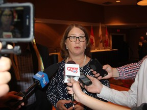 Minister of Indigenous Services Jane Philpott speaks to reporters at the Radisson Hotel in Saskatoon on Sept. 11, 2018. The Federal Government announced millions in dollars in new funding to help keep families together and in their community and preserve Indigenous languages in Saskatchewan on Tuesday. Philpott was in Saskatoon as part of the Liberal Caucus Retreat and said the message the Liberals have for Indigenous voters in Saskatchewan is that the Federal Government will respect their Treaty rights and will continue to work in a nation-to-nation capacity.