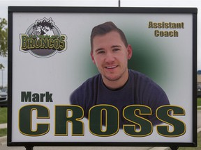 Green and yellow ribbons and a photograph of assistant coach Mark Cross along the boulevard on the road to Elgar Petersen Arena prior to the Humboldt Broncos home opener game against the Nipawin Hawks in Humboldt on Wednesday, September 12, 2018.