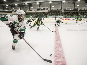 University of Saskatchewan Huskies forward Emily Upgang moves the puck against the University of Alberta Pandas during first-period U Sports women's hockey action during what was the first Huskies game at Merlis Belsher Place in Saskatoon on Friday, October 5, 2018.