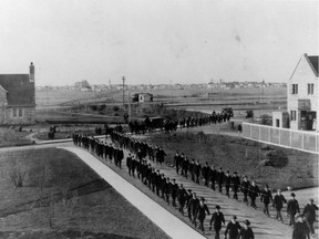 Funeral procession at the University of Saskatchewan for William Hamilton who died of the flu. Provincial Archives of Saskatchewan photo  S-B11785 2