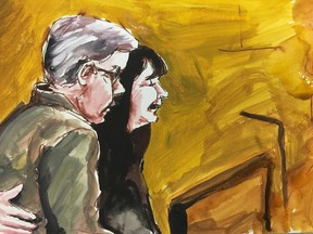 Tanya and Paul Labelle are seen giving victim impact statements in a courtroom sketch, in Melfort, Sask., on Wednesday, Jan. 30, 2019. Their son Xavier survived the collision which killed 16 of the Humboldt Broncos and support staff, but was initially reported to be among the dead.