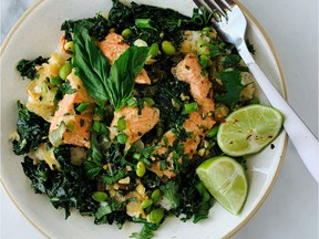 Salmon bowl with greens in miso coconut broth (Renee Kohlman)