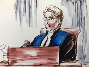 In this court artist's sketch, Justice Inez Cardinal presides over the sentencing hearing for Jaskirat Singh Sidhu in Melfort, Sask., Monday, Jan.28, 2019.