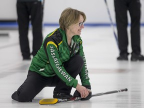 Team Saskatchewan second June Campbell smiles after a good rock against Team B.C., during the gold-medal game at the Canadian masters curling championship at the Nutana Curling Club.
