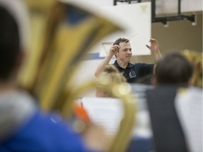 BESTPHOTO  SASKATOON, SK--MAY 24/2019-9999 News Teacher PMO Award- Teacher Michael Kurpjuweit, who recently won a Prime MinisterÕs Award for Teaching Excellence for his work in music education at Brunskill School, leads his student in music class at the school's gym in Saskatoon, SK on Friday, May 24, 2019.