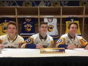 L-R, 2019 WHL Bantam Draft picks Ethan Chadwick, Hayden Smith and Brandon Lisowsky all signed WHL standard player agreements Tuesday with the Saskatoon Blades.