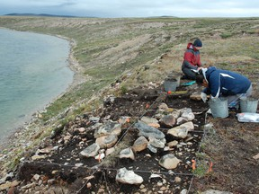 Researchers excavate a site on Victoria Island, Nunavut in this undated handout photo. Genetic research is showing the Indigenous people of Canada's western Arctic are descended from some of the first humans to live in North America. A newly published paper says the Dene who now live along the Mackenzie River have roots thousands of years older than previously thought.