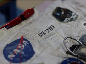 Neil Armstrong's pressure suit that he wore to walk on the moon during the Apollo 11 mission on July 20, 1969 is seen at the Smithsonian's Air and Space Museum's Udvar-Hazy Center in Chantilly, Virginia, U.S., June 26, 2019.