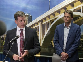 Saskatoon City Manager Jeff Jorgenson, left, and Mayor Charlie Clark reveal that the City of Saskatoon has been affected by a fraud scheme, at City Hall in Saskatoon, SK on Thursday, August 15, 2019. T