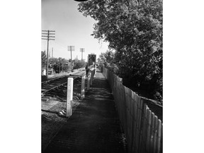 A photo of a new walkway beside the Canadian National Railway Bridges, from Sept. 5, 1956. (City of Saskatoon Archives StarPhoenix Collection S-SP-B4314-1)