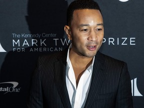Singer John Legend arrives at the Kennedy Center for the Mark Twain Award for American Humor on Oct. 27, 2019 in Washington, D.C. (ALEX EDELMAN/AFP via Getty Images)