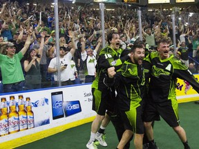 Rush players and fans celebrate the team's first championship in Saskatoon, in 2016.