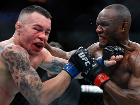 Colby Covington (L) takes a punch from UFC welterweight champion Kamaru Usman in their welterweight title fight during UFC 245 at T-Mobile Arena on Dec. 14, 2019, in Las Vegas.