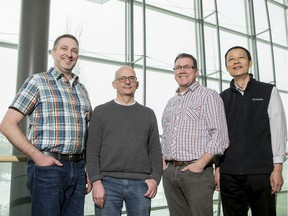 U of S researchers Darryl Falzarano; Robert Brownlie; Volker Gerdts and Qiang Liu are working on a vaccine for a deadly new coronavirus originating from Wuhan province in China. (Saskatoon StarPhoenix/Liam Richards)