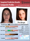 The phenotype provided to the Calgary police alongside a headshot of the woman police charged in connection to the 2017 case. From Parabon's website.