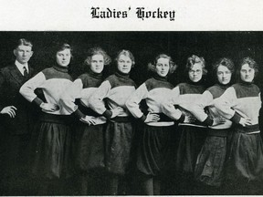 Ginger Catherwood, third from left, was a scoring sensation for the University of Saskatchewan women's hockey team  (UNIVERSITY OF SASKATCHEWAN ARCHIVES AND SPECIAL COLLECTIONS) (for Saskatoon StarPhoenix Waiser column, March 2020)