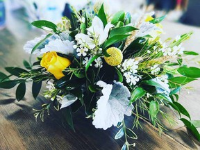 An arrangement from Quinn and Kim Flowers in Saskatoon. The business had agreed to provide flowers for the Juno awards, but changed plans on the fly once the awards were cancelled.