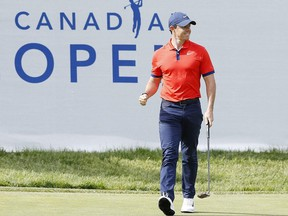 Rory McIlroy of Northern Ireland reacts after a birdie putt on the 14th green during the final round of the RBC Canadian Open at Hamilton Golf and Country Club on June 09, 2019 in Hamilton, Canada.