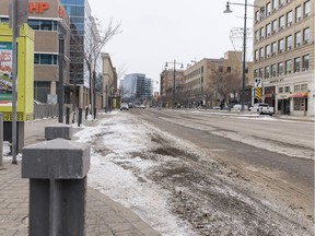 Third Avenue South in Saskatoon, SK ihas become very still amid pandemic related restrictions on Wednesday, April 1, 2020.