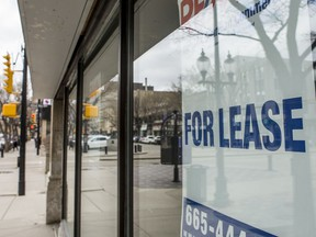 A for lease sign hangs in the window of a downtown business in Saskatoon, SK on Monday, May 4, 2020. Saskatoon StarPhoenix / Matt Smith