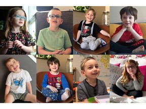Eight children from ages three to six answer questions related to the COVID-19 pandemic. From top left: Ophelia Dutchak, Liam Mitchell, Garry Ward, Theodore Hounjet, Rylan Hounjet, Samuel Ward, Elliott Ferwerda and Ava Kalnicki.