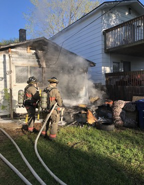 fire crews were called to the 300 block of Avenue S South shortly before 7 a.m. May 23, 2020. (Supplied)