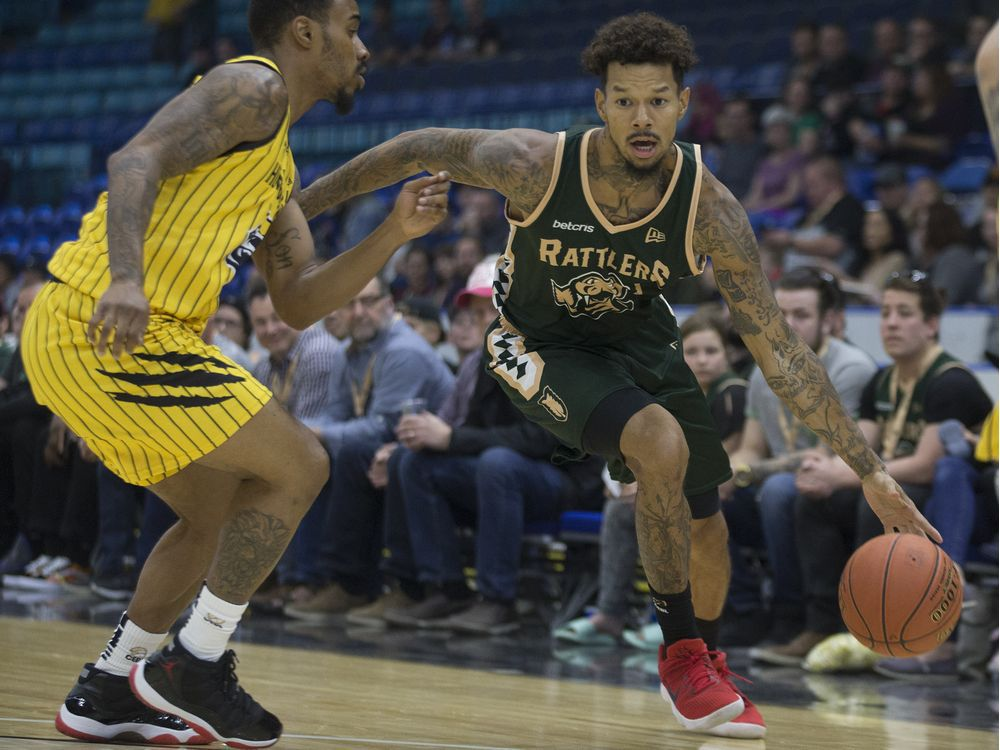 Saskatchewan Rattlers guard Negus Webster Chan dribbles the ball during Canadian Elite Basketball League action at SaskTel Centre in Saskatoon on Thursday, May 16, 2019. Webster-Chan is one of two returnees back from the Rattlers' 2019 CEBL championship squad.