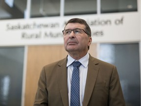 SARM President Ray Orb, who is also the reeve of the RM of Cupar, stands inside the lobby of the Saskatchewan Association of Rural Municipalities office in Regina in 2019.