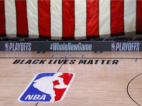 The NBA court in Lake Buena Vista, Fla., has been empty since Wednesday while players have boycotted games in support of Black Lives Matter.