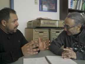 Wahbi Zarry, left, practices Cree with Solomon Ratt in Ratt's office at the First Nations University of Canada while filming his documentary 10 Days of Cree. The documentary is the first in a series he is creating called Canadian Languages, with each half hour documentary in the series showcasing a different Indigenous Language and Wahbi's efforts to learn as much of it as he can in 10 days.