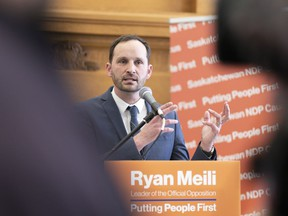 Ryan Meili, leader of the opposition NDP, speaks during an unusual Budget Day at the Legislative Building in Regina on Wednesday March 18, 2020. The Saskatchewan NDP is promising to send a drivers a $100 rebate if elected to form government this fall.