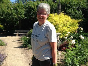 Bernadette in one of her favourite spaces - the Heritage Rose Garden at the Saskatoon Forestry Farm & Zoo. (Photo by Sara Williams)
