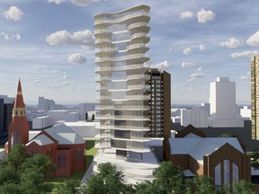 This rendering shows a 19-storey condominium tower planned by Meridian Development for the parking lot between Knox United Church and St. John's Anglican Cathedral in downtown Saskatoon. (City of Saskatoon)
