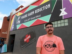 Jason Mercredi, executive director at Prairie Harm Reduction, poses in front of the organization's drop-in centre. Photo taken in Saskatoon, SK on Wednesday, September 30, 2020.