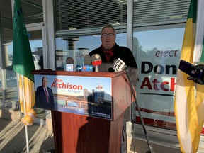 Saskatoon mayoral candidate Don Atchison criticizes city hall's response to the weekend snowstorm during a news conference at his campaign office on Eighth Street on Thursdsay, Nov. 12, 2020. (Phil Tank/Saskatoon StarPhoenix)