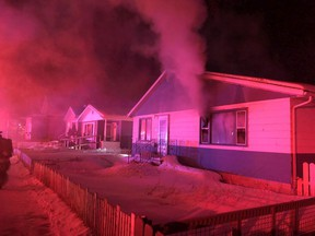 Saskatoon firefighters responded to an early-morning fire at this Mayfair residence following a 9-1-1 call at 4:35 a.m.