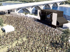An artist's rendering of a proposed $12.9-million permanent outdoor festival site in Friendship Park, between the Broadway and Traffic bridges. City of Saskatoon renderings supplied to the StarPhoenix