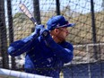 Toronto Blue Jays outfielder George Springer takes batting practice during spring training.